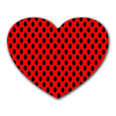 Polka Dot Black Red Hole Backgrounds Heart Mousepads by Mariart