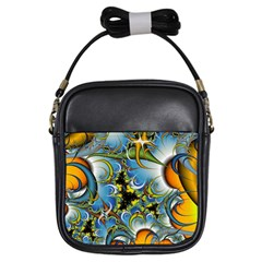 High Detailed Fractal Image Background With Abstract Streak Shape Girls Sling Bags by Simbadda