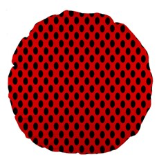 Polka Dot Black Red Hole Backgrounds Large 18  Premium Flano Round Cushions by Mariart