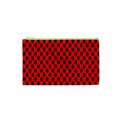 Polka Dot Black Red Hole Backgrounds Cosmetic Bag (xs) by Mariart