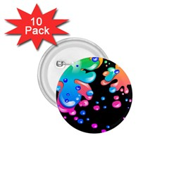 Neon Paint Splatter Background Club 1 75  Buttons (10 Pack) by Mariart