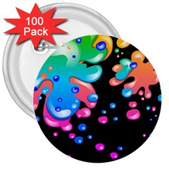 Neon Paint Splatter Background Club 3  Buttons (100 Pack)  by Mariart