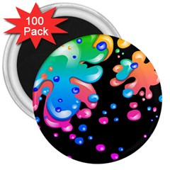 Neon Paint Splatter Background Club 3  Magnets (100 Pack) by Mariart