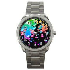 Neon Paint Splatter Background Club Sport Metal Watch by Mariart
