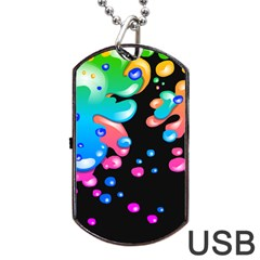 Neon Paint Splatter Background Club Dog Tag Usb Flash (two Sides) by Mariart