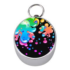 Neon Paint Splatter Background Club Mini Silver Compasses by Mariart