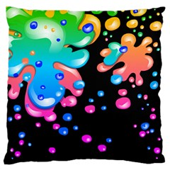 Neon Paint Splatter Background Club Standard Flano Cushion Case (one Side) by Mariart