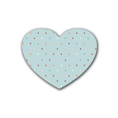 Polka Dot Flooring Blue Orange Blur Spot Rubber Coaster (heart)  by Mariart