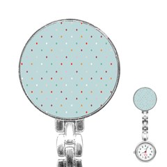 Polka Dot Flooring Blue Orange Blur Spot Stainless Steel Nurses Watch by Mariart