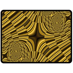 Fractal Golden River Double Sided Fleece Blanket (large)  by Simbadda