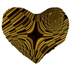 Fractal Golden River Large 19  Premium Flano Heart Shape Cushions by Simbadda
