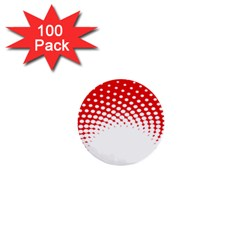 Polka Dot Circle Hole Red White 1  Mini Buttons (100 Pack)  by Mariart
