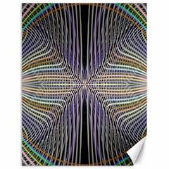 Color Fractal Symmetric Wave Lines Canvas 18  X 24   by Simbadda