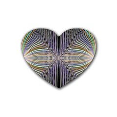 Color Fractal Symmetric Wave Lines Heart Coaster (4 Pack)  by Simbadda