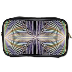 Color Fractal Symmetric Wave Lines Toiletries Bags by Simbadda