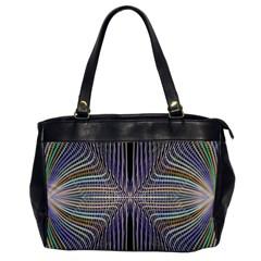 Color Fractal Symmetric Wave Lines Office Handbags by Simbadda
