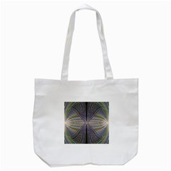 Color Fractal Symmetric Wave Lines Tote Bag (white) by Simbadda