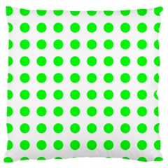 Polka Dot Green Large Flano Cushion Case (two Sides) by Mariart