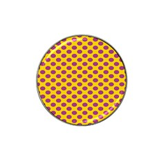 Polka Dot Purple Yellow Orange Hat Clip Ball Marker (4 Pack) by Mariart