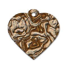 Fractal Background Mud Flow Dog Tag Heart (one Side) by Simbadda