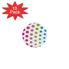 Polka Dot Pink Green Blue 1  Mini Buttons (10 Pack)  by Mariart