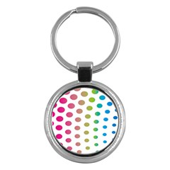 Polka Dot Pink Green Blue Key Chains (round)  by Mariart