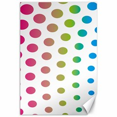 Polka Dot Pink Green Blue Canvas 12  X 18   by Mariart