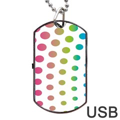 Polka Dot Pink Green Blue Dog Tag Usb Flash (one Side) by Mariart