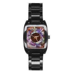 Background Image With Hidden Fractal Flower Stainless Steel Barrel Watch by Simbadda