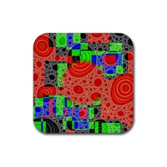 Background With Fractal Digital Cubist Drawing Rubber Coaster (square)  by Simbadda