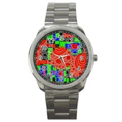 Background With Fractal Digital Cubist Drawing Sport Metal Watch by Simbadda