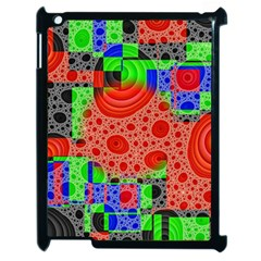 Background With Fractal Digital Cubist Drawing Apple Ipad 2 Case (black) by Simbadda
