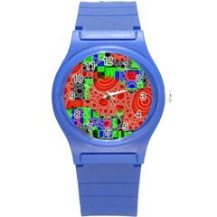 Background With Fractal Digital Cubist Drawing Round Plastic Sport Watch (s) by Simbadda