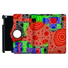 Background With Fractal Digital Cubist Drawing Apple Ipad 3/4 Flip 360 Case by Simbadda