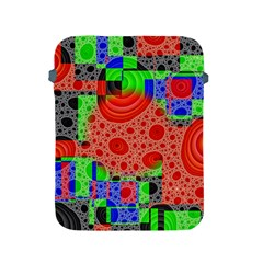 Background With Fractal Digital Cubist Drawing Apple Ipad 2/3/4 Protective Soft Cases by Simbadda