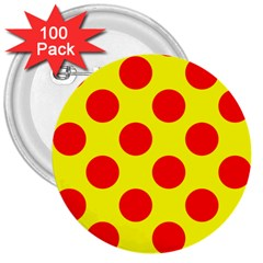 Polka Dot Red Yellow 3  Buttons (100 Pack)  by Mariart
