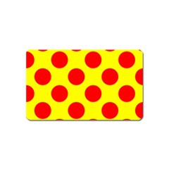 Polka Dot Red Yellow Magnet (name Card) by Mariart