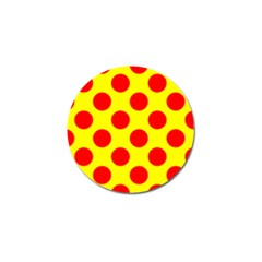 Polka Dot Red Yellow Golf Ball Marker by Mariart