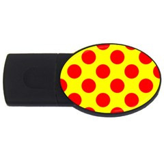 Polka Dot Red Yellow Usb Flash Drive Oval (2 Gb) by Mariart