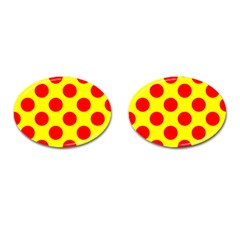 Polka Dot Red Yellow Cufflinks (oval) by Mariart