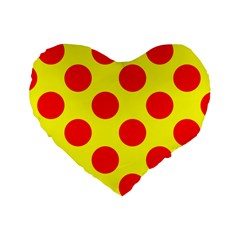 Polka Dot Red Yellow Standard 16  Premium Heart Shape Cushions by Mariart