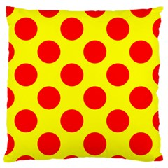 Polka Dot Red Yellow Large Flano Cushion Case (one Side) by Mariart
