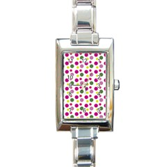 Polka Dot Purple Green Yellow Rectangle Italian Charm Watch by Mariart