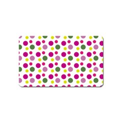 Polka Dot Purple Green Yellow Magnet (name Card) by Mariart