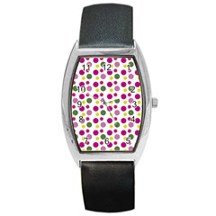 Polka Dot Purple Green Yellow Barrel Style Metal Watch by Mariart