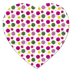 Polka Dot Purple Green Yellow Jigsaw Puzzle (heart) by Mariart