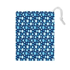Polka Dot Blue Drawstring Pouches (large)  by Mariart