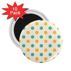Polka Dot Yellow Green Blue 2 25  Magnets (10 Pack)  by Mariart