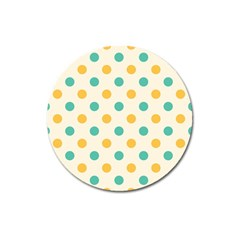 Polka Dot Yellow Green Blue Magnet 3  (round) by Mariart