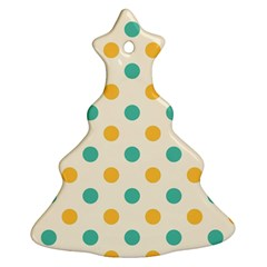 Polka Dot Yellow Green Blue Christmas Tree Ornament (two Sides) by Mariart